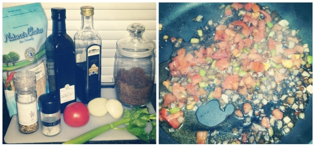 - the core ingredients (left) and frying relish (right)