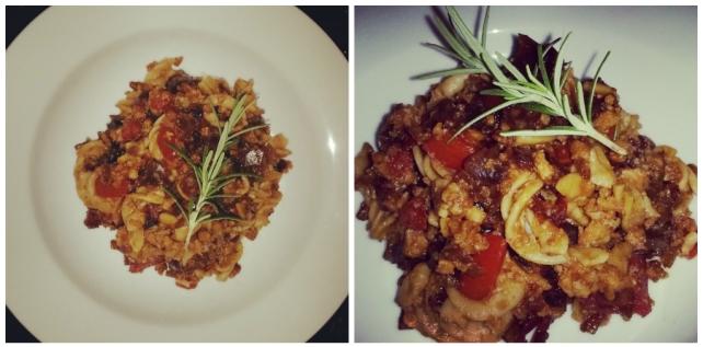 - Finished Soya Mince Pasta with Sweet Onion & Tomato Relish