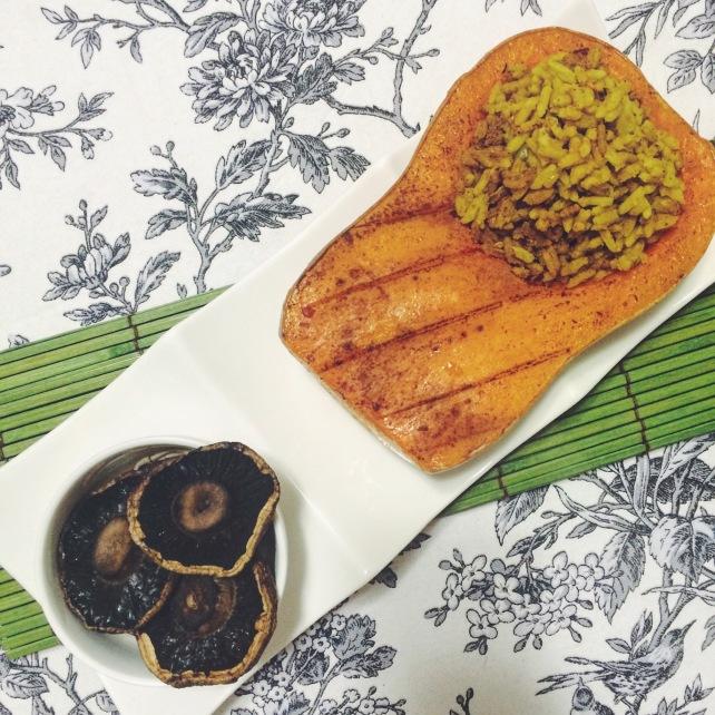 Vegan butternut squash stuffed with Breyani rice